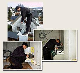 Bildzusammenschnitt dreier Fotos mit Rauchfangkehrern bei Ihrer Arbeit