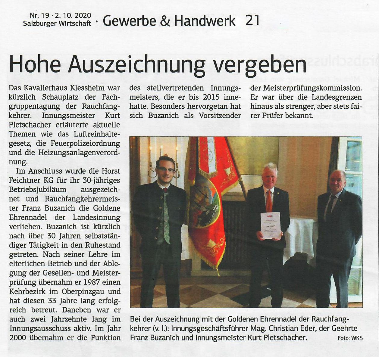 Auszeichnung goldene Ehrennadel - Salzburger Rauchfangkehrer