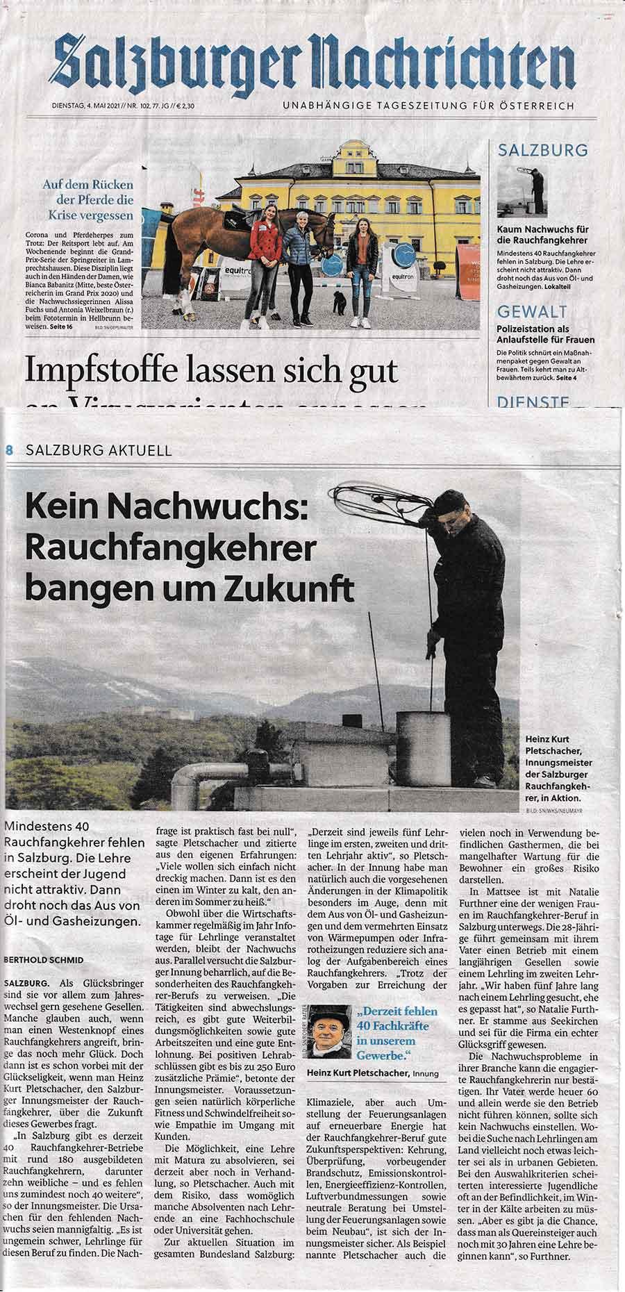 Bericht Salzburger Rauchfangkehrer in den Salzburger Nachrichten vom 4.5.2021